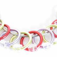 Small Knitting stitch marker | Snagless stitch marker | Ring stitchmarkers | Knitting tools | purple, yellow, red with clear beads | #0470