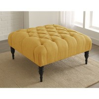 Button Tufted Upholstered Ottoman - French Yellow