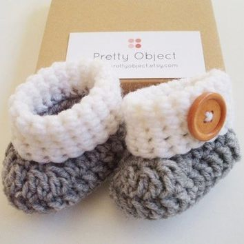 PDF Crochet PATTERN for beginners Baby Booties Baby Shoes Baby slippers Size 0-3 months Easy pattern Written in US terms