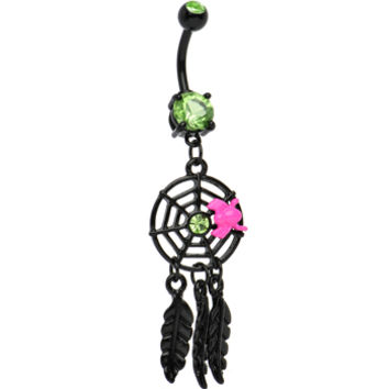 Peridot Gem Black Spider web Dreamcatcher Belly Ring | Body Candy Body Jewelry
