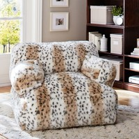 Snow Leopard Faux Fur Eco Lounger Speaker Media Chair