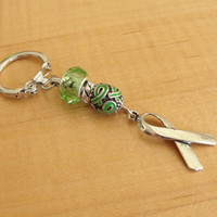 Lime Green Awareness Key Chain - Muscular Dystrophy, Lyme Disease, Non-Hodgkins Lymphoma, Duchenne Muscular Dystrophy DMD