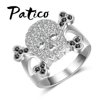 PATICO 925 Sterling Silver Ring Hyperbole Skeleton Skull Shape Rings For Men Jewelry Classic Halloween Gifts Bijoux Anel Gift