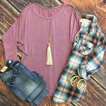 3/4 Sleeve Dolman Top: Dusty Rose