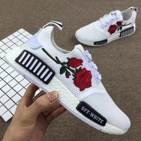 Adidas: NMD OFF-WHITE Knit roses running shoes