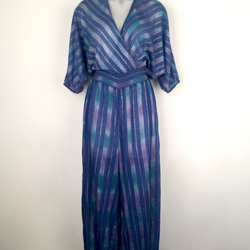 Beautiful 1970s 'Adini' shades of blue, striped, Indian cotton jumpsuit with harem pant legs and plunging crossover front