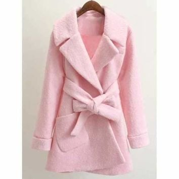 Belted Lapel Wool Coat - Pink M