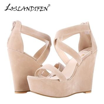 LOSLANDIFEN Women Sandals Nude New Platform Flock Gladiator Sandal Wedges Casual High Heels Shoes Lady Summer Shoe Wedding Party