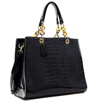 Dasein(R) Patent Faux Leather Croco Embossed Chain Strap Satchel