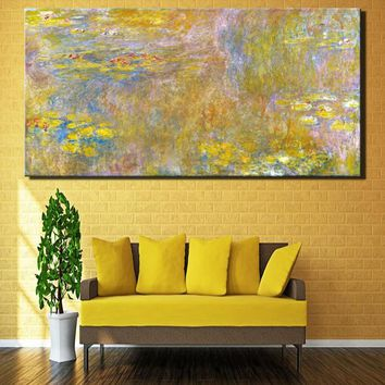 Monet World Famous Oil Paintings Reproductions Print On Canvas Lotus Pond Impression Wall Art Pictures For Home Decoration
