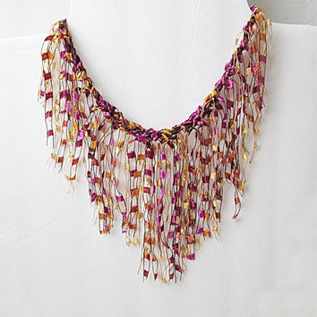 Ribbon Yarn Necklace, Ladder Yarn Necklace, Trellis Yarn Necklace, Gold And Pink