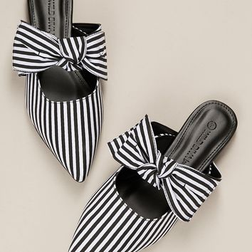 Pointy Toe Stripe Bow Accent Flat Mules