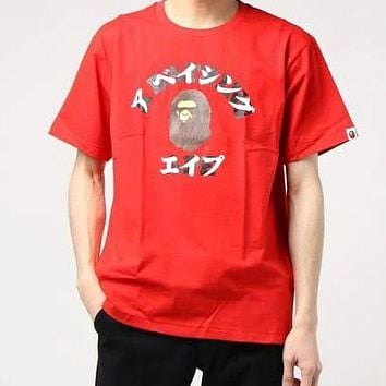 AAPE BAPE Popular Couple Leisure Print Round Collar T-Shirt Top Red