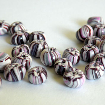 White-Violet-Pink Handmade Polymer Clay Beads Set - 17 Beads