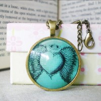 Retro Heart Necklace, Angel Heart, Domed Cabochon Necklace Handmade | Luulla