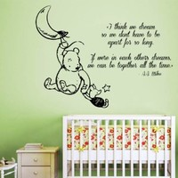 Wall Decals Vinyl Decal Sticker Home Interior Design Art Mural Winnie the Pooh Quote Piglet Moon Dreaming Friends Girl Boy Kids Nursery Baby Room Decor