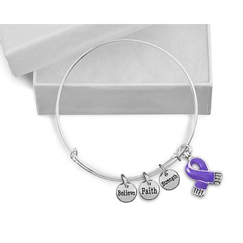Purple Ribbon Awareness Retractable Charm Bracelet for Causes