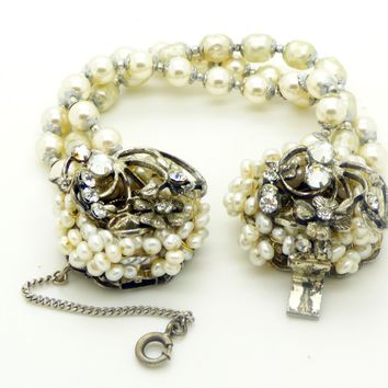 Miriam Haskell Glass Pearl Bracelet