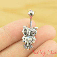 little owl bellybutton rings,owl belly button jewelry,owl navel ring,body piercing jewelry,friendship bellyring