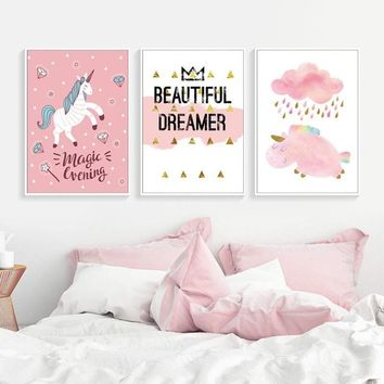 SURE LIFE Nordic Cute Watercolor Animals Magic Unicorn Canvas Paintings Poster Print Wall Art Pictures For Kid's Room Home Decor