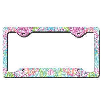 monogrammed license plate frame lilly pulitzer inspired pers