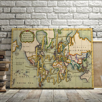 """World Map Poster Travel Quote Graduation Gift World Map Poster """"Let's travel the world"""" Inspirational Quote Vintage Map INSTANT DOWNLOAD ART"""