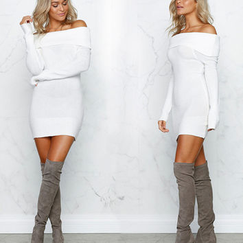Fashion Off Shoulder Tight Long Sleeve Sweaters
