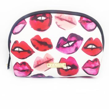 Lips Saffiano Small Dome Cosmetic Bag