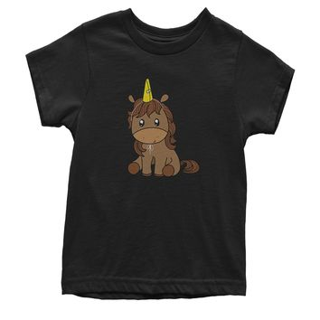 Unicorn in Cone Hat Youth T-shirt