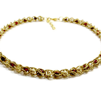 Gold Chain Maille Dog Collar with Red Beads White Beads. Capture Weave Chain Collar for Cats. Gold Ring Collar. Gold Dog Collar with Beads.