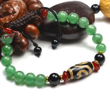 Tibetan Lotus Dzi Bead Jade Bracelet, length adjustable 7 -10 inches -Fortune Feng Shui Fashion Jewelry