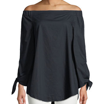 Free People Off-The-Shoulder Tie-Sleeve Tunic