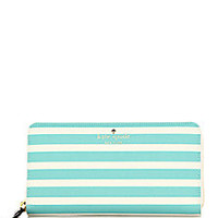 Kate Spade New York - Fairmount Striped Saffiano Leather Zip Continental Wallet - Saks Fifth Avenue Mobile