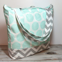 Mint Polka Dot Tote - Mint Tote Bag - Canvas Tote Bag - Mint and Gray Bag - Bridesmaid Totes - Beach Bag Tote - School Tote Bag - Tote Bag