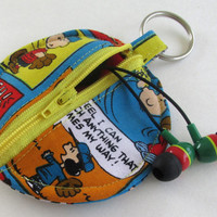 Charlie Brown Circle Earbud Holder Pouch / Snoopy Coin Purse / Peanuts / Sports
