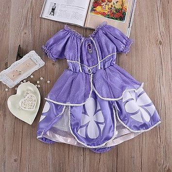 Europe And United States Sofia Princess Baby Girls Costume Party Dress Halloween Birthday Fancy Kids Dress 2-7T