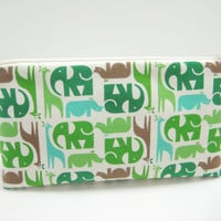 Cosmetic Bag, Accessory Pouch, Zippered Pouch, Blue and Green Cosmetic Pouch, Elephant Print Pouch, Giraffe Print Pouch, Ready to Ship