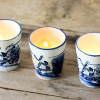 $18.00 Blue Windmill China Cups Set of 3 Made in Japan by PineandMain