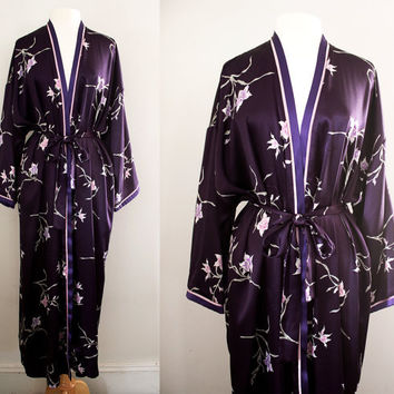 Vintage Oscar De La Renta Dressing Gown - Long Satin Robe - Size Large