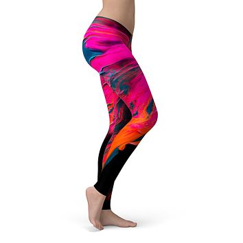 Liquid Abstract Paint V73 - All Over Print Womens Leggings / Yoga or Workout Pants