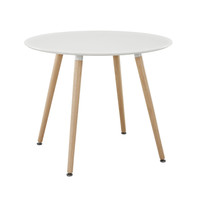 Track Small Round Dining Table in White 35.5""