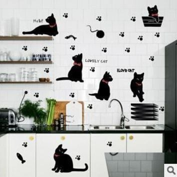 Lovely Cat Paw Fish Playing Murals Wall Stickers
