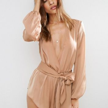 ASOS Satin Beach Playsuit with Plunge Neck and Long Sleeves at asos.com