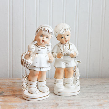 Vintage Boy Girl Figurines - 1960s Enesco White and Gold - Brother Sister