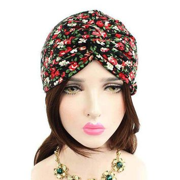 ESB1ON Fashion Knitted hat Women Floral Printed Cancer Chemo Hat Pre-Tied Headwear Bandana Beanie Scarf Turban Head Wrap Cap