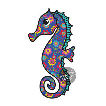 Seahorse Car Decal Blue Flower Colorful Beach Bumper Sticker Yellow Red Teal