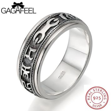 Men's Ring 925 Sterling Silver Jewelry For Male With Punk Cool Six Words Of Mantra Engagement For