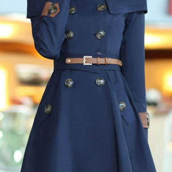 Navy Long Sleeve Trench Coat with Belt