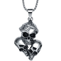 Stainless Steel Gothic Snake Entangling Triple Skulls Pendant Necklace