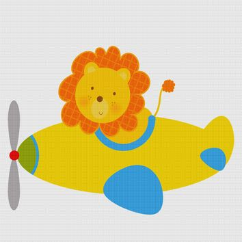 Contemporary Lion Flying an Airplane Hand Embroidery Pattern
